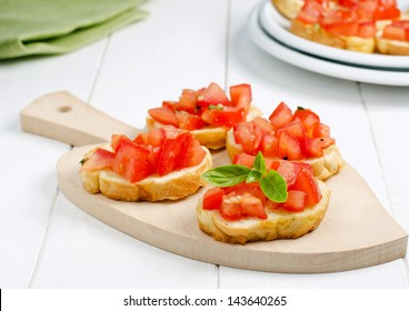 Fresh bruschetta with tomato and basil