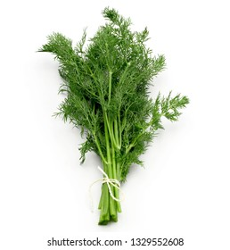 fresh bunch green dill on white background