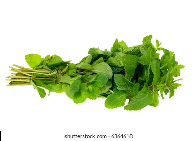 fresh bunch of mint isolated on a white background