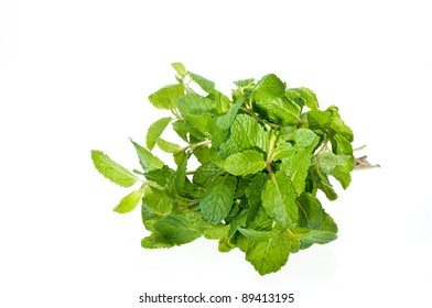 A fresh bunch of fresh mint leaves from the market
