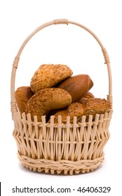 Fresh buns in a basket on a white background