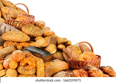 Fresh buns, cookies, croissants and other bread products isolated on white background