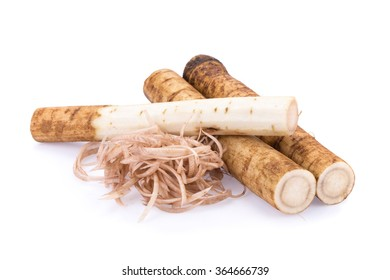 Fresh Burdock roots on white background.