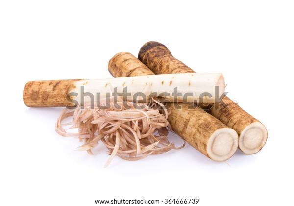 Fresh Burdock roots on white background.