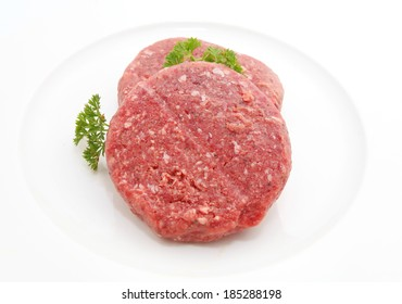 Fresh burger patty isolated on white