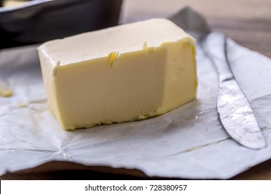 Fresh butter on the kitchen table.