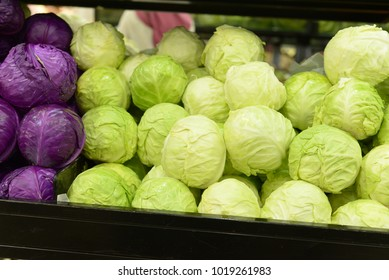 Fresh cabbage from field. Cabbage harvest, cabbage background. Cabbage in a crate