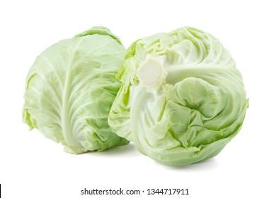 Fresh cabbage isolated on white background.