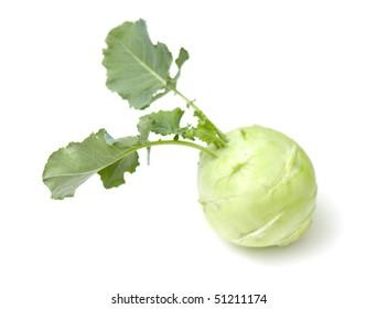fresh cabbage of kohlrabi on the white isolated background
