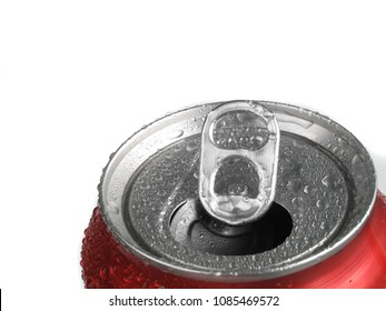 Fresh can of soda with condensation refreshing
