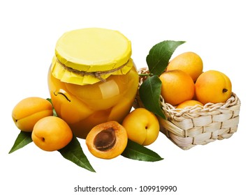 fresh and canned apricots isolated on white background