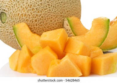 Fresh cantaloupe with juicy chunks ready to be eaten