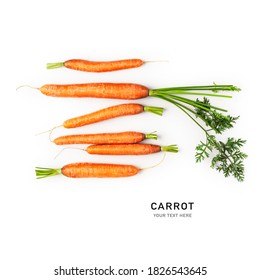 Fresh carrot with leaves isolated on white background. Healthy eating and dieting food concept. Design elements, top view, flat lay