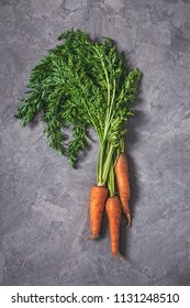 Fresh carrots bunch on grey plastered background. Top view