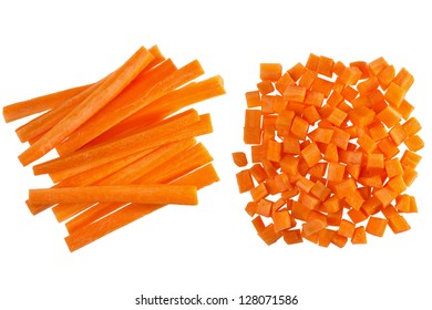 Fresh carrots, diced and carrot sticks