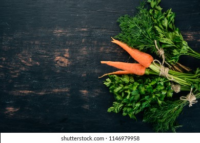 Fresh carrots, parsley and dill. Organic food. On a black background. Top view. Free space for text.