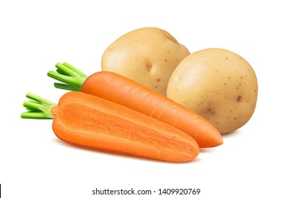 Fresh carrots and potatoes isolated on white background. Package design element with clipping path