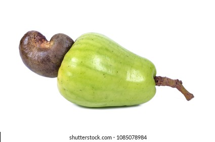 Fresh Cashew Nut on white background .