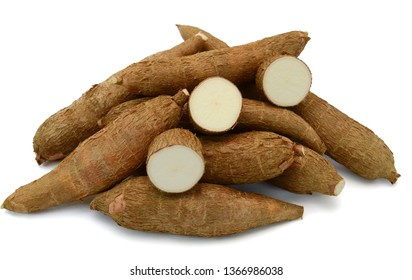 Fresh Cassava root isolated on a white background