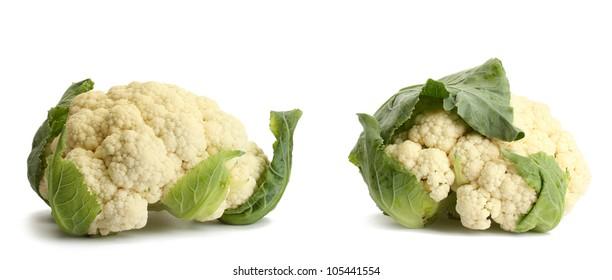 Fresh cauliflowers isolated on white