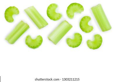 fresh celery isolated on white background with copy space for your text.Top view. Flat lay