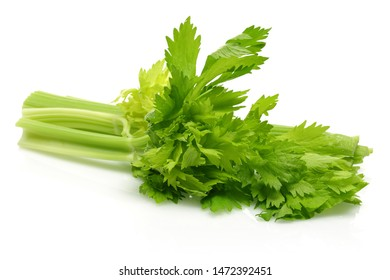 Fresh celery stalks and leaves isolated on white background