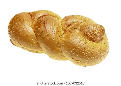 Fresh challah for Shabbat isolated on white background