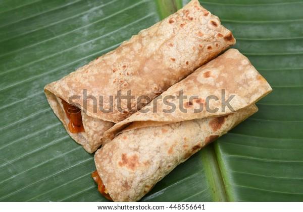 Fresh Chapati Roll Chapathi Rotii Unleavened Stock Photo