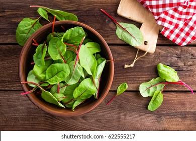 Fresh chard leaves