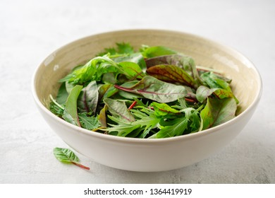 Fresh Chard and Mizuna leaves in bowl on gray concrete background. Selective focus.