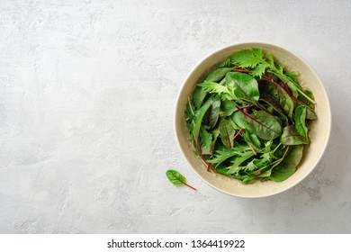 Fresh Chard and Mizuna leaves in bowl on gray concrete background. Top view. Copy space.