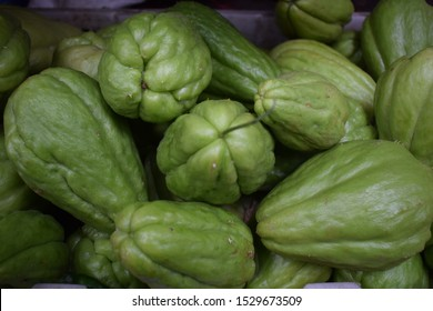 fresh chayote on a traditional market