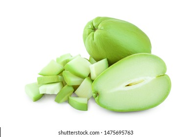 fresh Chayote vegetable or mexican cucumber isolated on white background