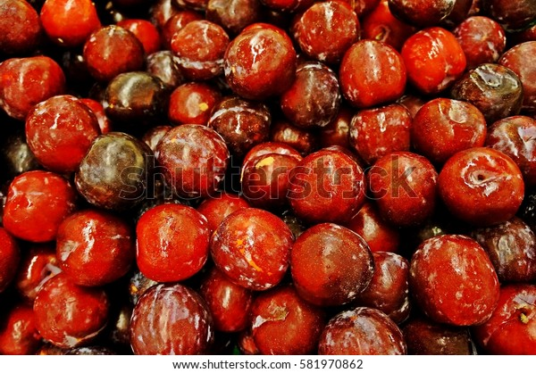 Fresh Cheery Red Fruits at Market