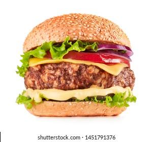 fresh cheeseburger isolated on white background