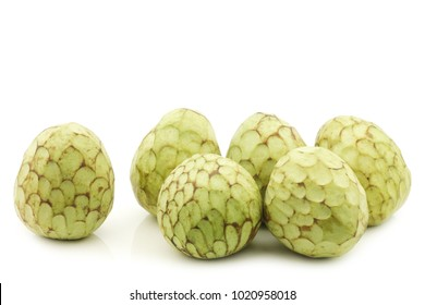 fresh cherimoya fruits (Annona cherimola) on a white background