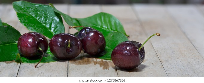 Fresh Cherries and green leaf put on old wooden table in green garden / Blurred and Select focus and space for texts and adjustment size for banner, cover, header