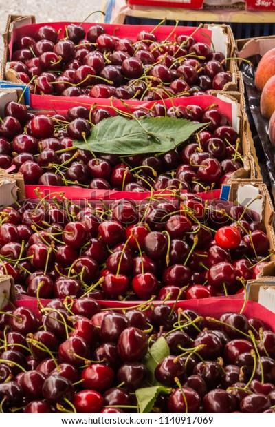 Fresh Cherries On Display Central Market Stock Photo (Edit