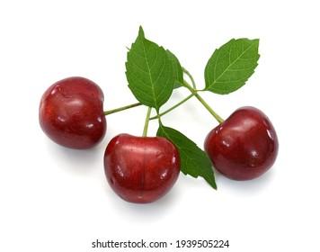 Fresh cherry fruit isolated on white background