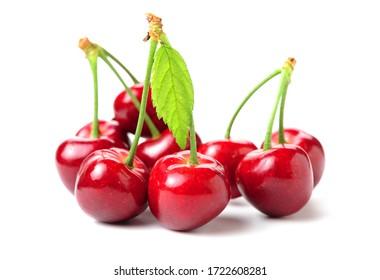Fresh cherry fruit on white background.