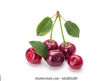 Fresh cherry isolated on white background. Vegetarian food.