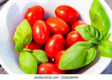 fresh cherry tomatoes and basil