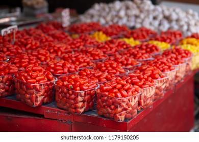 FResh cherry tomatoes at popular marketplace Carmel Market, Shuk HaCarmel in Tel Aviv, Israel