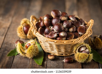 Fresh chestnuts in the basket