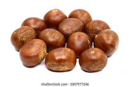 Fresh chestnuts isolated on white