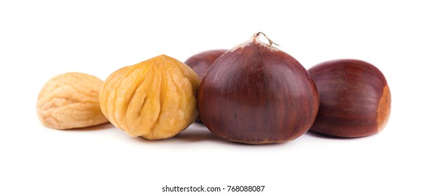 Fresh chestnuts isolated on white background. Hippocastanum isolated. Chestnut with clipping path. Macro.