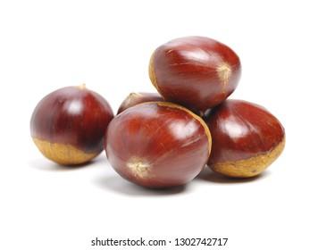 Fresh chestnuts on white background