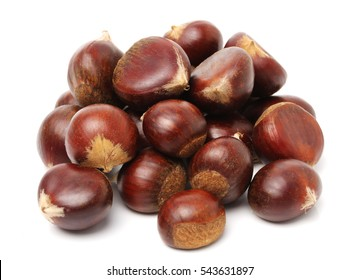 Fresh chestnuts on white background