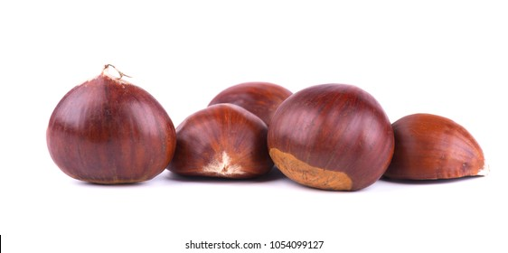 Fresh chestnuts with peeled roasted chestnut isolated on white background. Hippocastanum isolated. Isolated chestnut set
