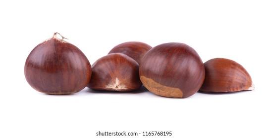 Fresh chestnuts with peeled roasted chestnut isolated on white background. Hippocastanum isolated